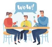 Семья имеет обед Отец, мать и сын сидя в кухне и имея еду совместно иллюстрация штока