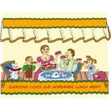 Семья имеет обед с очень вкусными сандвичами с сосисками иллюстрация штока