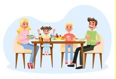Семья имея завтрак на кухонном столе счастливые родители иллюстрация вектора