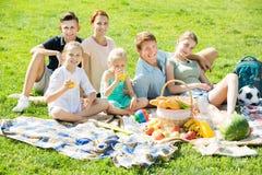 Семья имея пикник совместно Стоковые Изображения