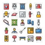 Семья и домашние плоские значки пакуют иллюстрация вектора