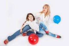 Семья и шарики Стоковые Фото
