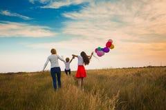 Семья идя на поле Стоковое Изображение RF