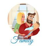 Семья концепции иллюстрации мультфильма вектора счастливая иллюстрация вектора