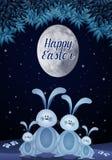 Семья кроликов в ноче пасхи Стоковая Фотография RF
