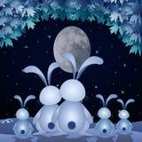 Семья кроликов в ноче Стоковая Фотография