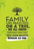 Семья любит ветви на дереве, мы все растут в различных направлениях но наши корни остаются как одно Цитата мотивировки иллюстрация вектора
