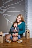 Семья, мать и сын Стоковая Фотография