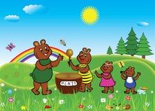 Семья медведя ест мед иллюстрация вектора