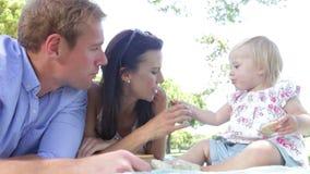 Семья наслаждаясь пикником совместно сток-видео