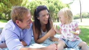 Семья наслаждаясь пикником совместно акции видеоматериалы