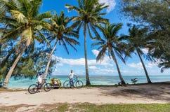 Семья на езде велосипеда Стоковые Изображения RF