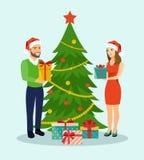 Семья на Кристмас вал семьи рождества близкий стоящий иллюстрация вектора