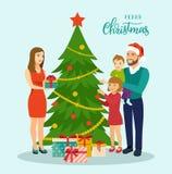 Семья на Кристмас Положение семьи около рождественской елки и украшать бесплатная иллюстрация