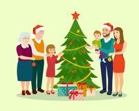 Семья на Кристмас Положение семьи около рождественской елки и украшать иллюстрация штока