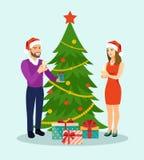 Семья на Кристмас Положение семьи около рождественской елки со стеклами шампанского иллюстрация вектора