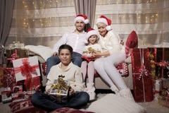 Семья на Кристмас Стоковое фото RF