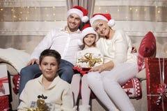 Семья на Кристмас Стоковые Фото