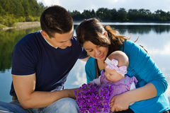 Семья на озере Стоковая Фотография RF
