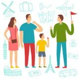 Семья на отклонении слушая к гиду Стоковая Фотография