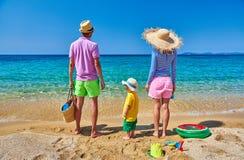 Семья на пляже в Греции каникула территории лета katya krasnodar стоковая фотография