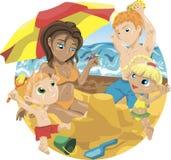Семья на пляже Стоковая Фотография RF