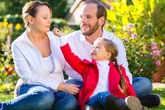 Семья на лужайке сада Стоковое фото RF