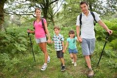 Семья на trekking день в лесе стоковая фотография rf