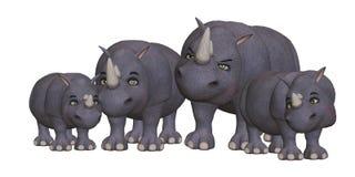 Семья носорога шаржа Стоковая Фотография