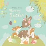 Семья оленей мультфильма с милыми зайчиками Счастливые животные для пасхи иллюстрация штока