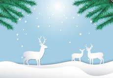 Семья оленей с предпосылкой рождества жизни сосны и природы снега бесплатная иллюстрация