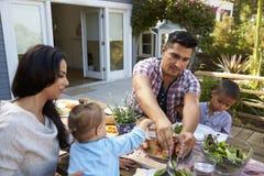 Семья дома есть внешнюю еду в саде совместно Стоковое Изображение RF