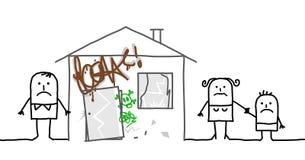 Семья & опасный дом бесплатная иллюстрация