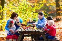 семья осени имея пикник Стоковые Фотографии RF