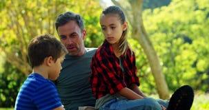 Семья ослабляя в парке 4k видеоматериал