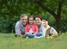 Семья отдыхая в парке лета Стоковые Фото
