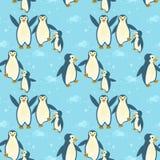Семья пингвинов на картине льда безшовной иллюстрация штока