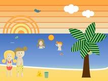 семья пляжа ретро Стоковое Изображение