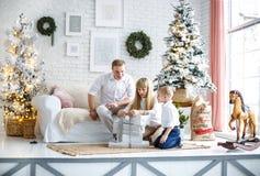 Семья подготавливает на Новый Год E стоковое фото