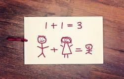 Семья поздравительной открытки счастливая Стоковые Фотографии RF