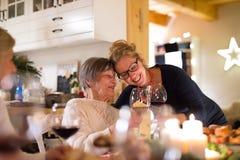 Семья празднуя рождество Бабушка и внучка Стоковые Изображения