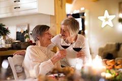 Семья празднуя рождество Старшая женщина и ее мать Стоковые Фото