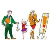 семья предпосылки изолированная над белизной покупкы Стоковые Изображения