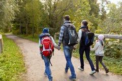 Семья при рюкзаки или идя в древесины стоковое изображение