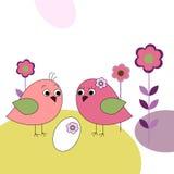 Семья птиц и яичек иллюстрация штока