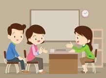 Семья разговаривая с учителем Стоковое Изображение