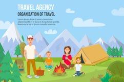 Семья располагаясь лагерем outdoors также вектор иллюстрации притяжки corel иллюстрация штока