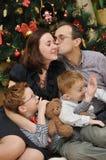 семья рождества около вала Стоковое Изображение
