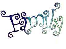Семья слова во введенных в моду письмах стоковые фотографии rf