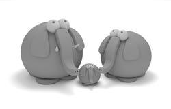 семья слона глины Стоковая Фотография